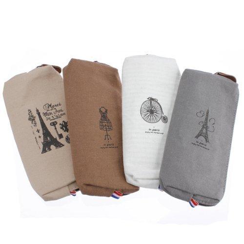 Preisvergleich Produktbild ANKEER Canvas Bag Pencil Case Paare Eiffel Tower Stiftart Schreibwaren Taschen
