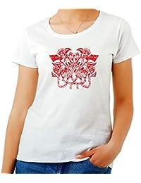 T-Shirt para Las Mujeres Blanca FUN0205 Revolvers and ROSES3