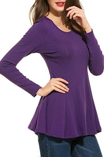 Zeagoo Damen Schößchen Langarmshirt Falten A-Linie Saum Peplum Tunika T-Shirt Blusen Tops Lila