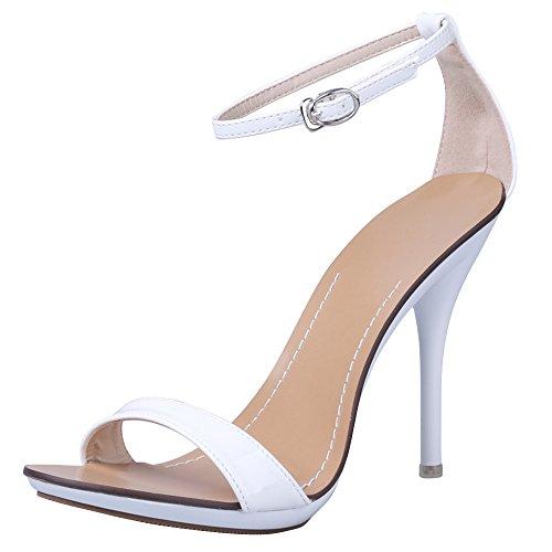 Damen Sandalen Knöchelriemchen Schnalle Stiletto High Heels Absatz-10,5CM Sexy Hochzeit Party Weiß
