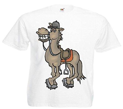 Motiv Fun T-Shirt Glückliches Pferd Cartoon Spass Kult Film Serie Motiv Nr. 10928 Weiß