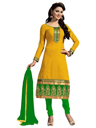 Jiya Presents Embroidered Chanderi Dress Material(Yellow,Green)