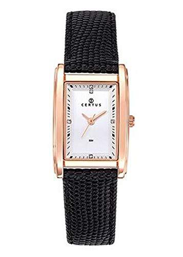 Certus–Reloj Mujer–h646m245–Piel Negro–Caja Rectangular Dorado Rosa–Reloj Plata