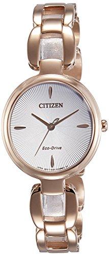 Citizen Damen Analog Quarz Uhr mit Edelstahl beschichtet Armband EM0423-81A (Damen Eco-drive Uhren)