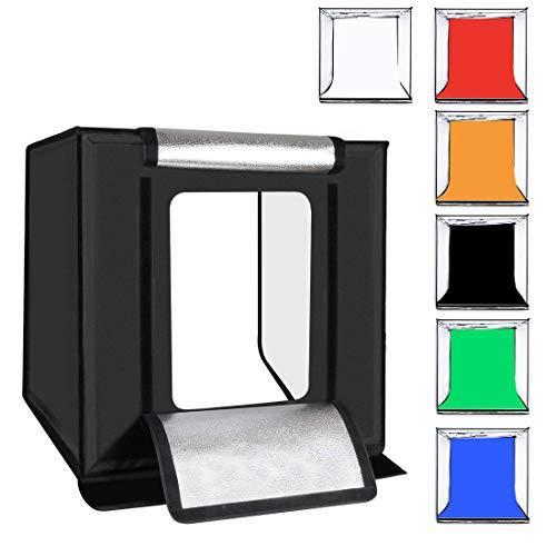 Tragbare Fotostudio, Faltbare LED Foto Licht Box Einstellbare Helligkeit Stand Tischplatte Fotografie Beleuchtung Kit 16 Zoll / 40 Cm,UK