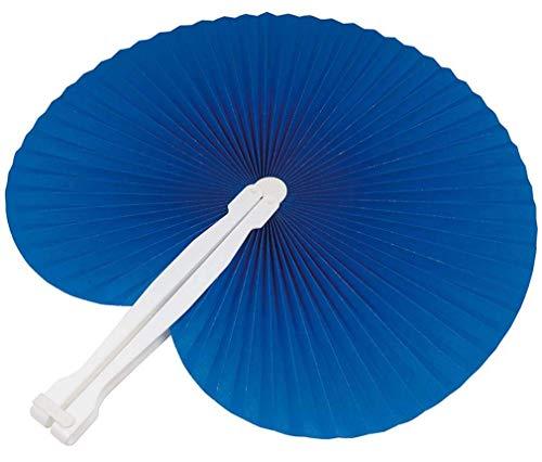100 pezzi ventagli ventaglio da borsetta matrimonio segnaposto bomboniera wedding manico in plastica e chiusura a gancio 7 colori (blu)