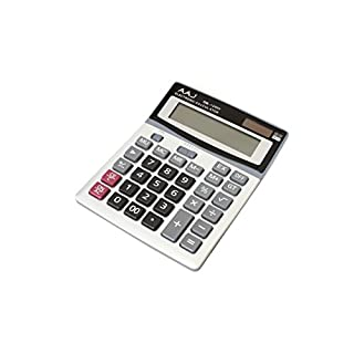 AAJ Brand New 12 Digit Desk Calculator Jumbo Large Buttons Solar Desktop Battery - Battery Included