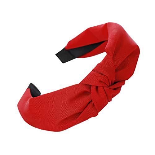 YWLINK Damen Mode Haar Kopfband Mode-Knoten-Haarband Einfache SüßE MäDchen Einfach Volltonfarbe Elegant Sport Breit Haar-Stirnband(Rot,)