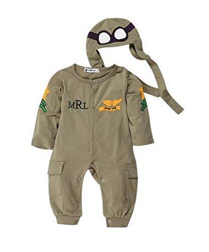 R OVERALL *PILOT* MIT MÜTZE BABY STRAMPLER FLIEGER (68) ()