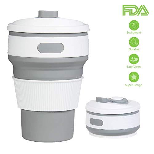 Aikowenner Zusammenlegbare Silikon Kafeetasse, Praktischer Reisebecher für unterwegs, 350ml 100% Lebensmittelqualität Silikon BPA-frei geeignet für Outdoor-Aktivitäten Camping Wandern (350ml, Grau)