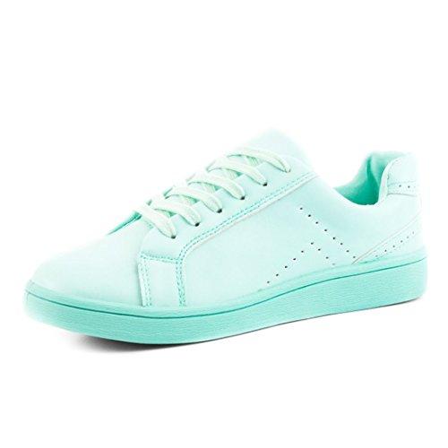 Super Moda Senhoras Cor Full-color Rendas Até Hortelã Sneaker Em Cores Diferentes