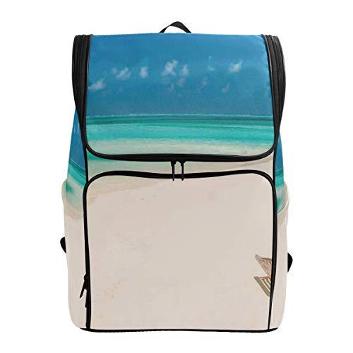 DINANY Klappstuhl auf Sandy Tropical Beach Relaxing Holidays Seascape Picture Computer Rucksack Student Geschäftsreise Tasche Gehen Tragbare Wild Outsourcing Camping Taschen Persönlichkeit Mode