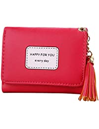 LQZ Women Lady Stylish Delicate Tassel Short Small Wallet Coin Purse Pouch