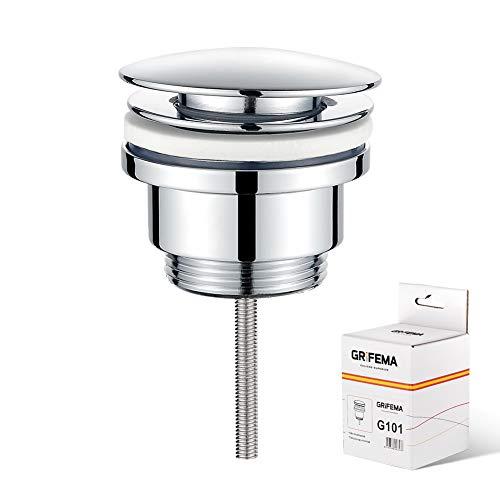 GRIFEMA COMPLENTOS-G101 Push-Open Ablaufgarnitur, mit Überlauf, 1 1/4 Zoll/POP-UP Universal Ablaufgarnitur für Waschtisch/Waschbecken, ohne Überlauf, Chrom