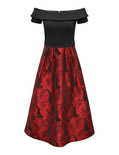 APART Fashion Damen Kleid Mehrfarbig (Schwarz-Rot)