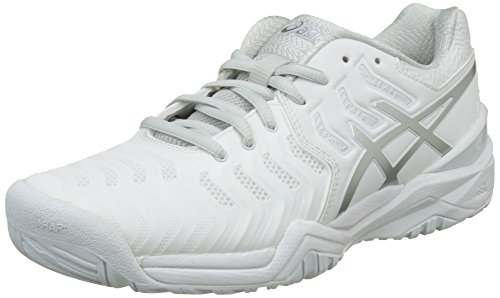 ASICS Gel-Resolution 7, Scarpe da Tennis Donna, Bianco (White/Silver), 39.5 EU