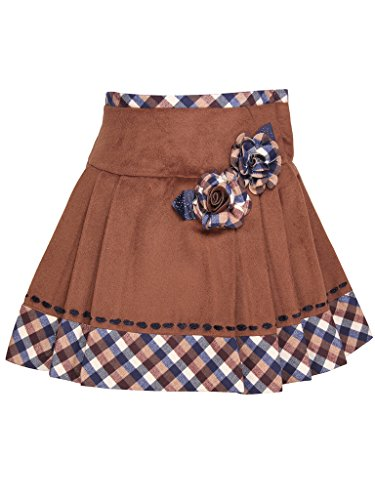 Cutecumber Girls Brown Blended Knee Length Skirt-(1488B-BrownNew-22)  available at amazon for Rs.540