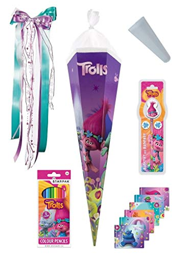 Familando Trolls Schultüte 85cm - mit passender Schleife und Spitzenschutz Mädchen Poppy