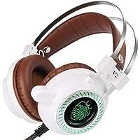 Laurelmartina Auriculares Stereo V2 Auriculares para Juegos Gamer LED Hi-Fi Auriculares MP3 con micrófono Auriculares Acolchados para PC