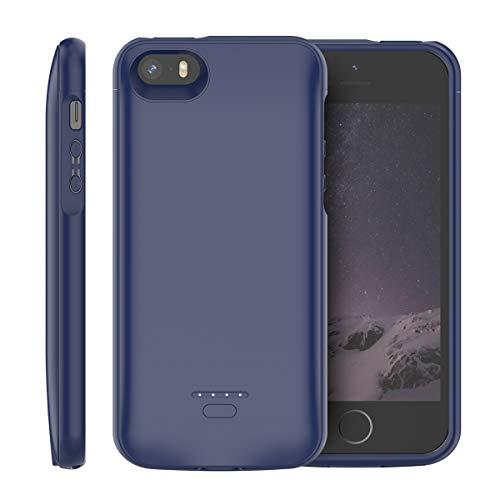 iPhone SE 5SE 5 5S Akku Hülle, 4000mAh Dünn Externe AkkuCase Aufladbar Batterie Ladehülle Integrierten Ersatzakku Ladegerät Power Bank Backup Extra Pack Schutzhülle (Blau) (Akku Iphone 5s Case)