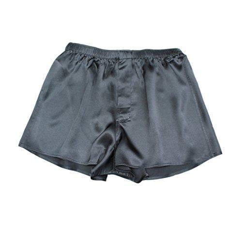 Jasmine Silk Herren 100% Seide KURZE / Pyjama Böden / Schlafanzughose Pyjamahose kurz │Thermoregulierende und atmungsaktive Funktions-Nachtwäsche Schwarz (Medium (33-35)) - Luxuriöse 400 Thread