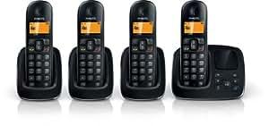 Philips CD1964B/38 Téléphone Quattro sans fil avec répondeur 3 combinés supplémentaires Noir