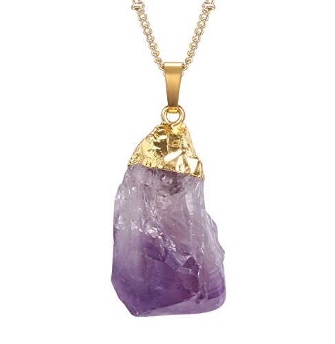 JDGEMSTONE Gold Plated Real Raw Irregular Amethyst Jewelry Set, Pendant Necklace, Earrings, Jewelry Set for Women