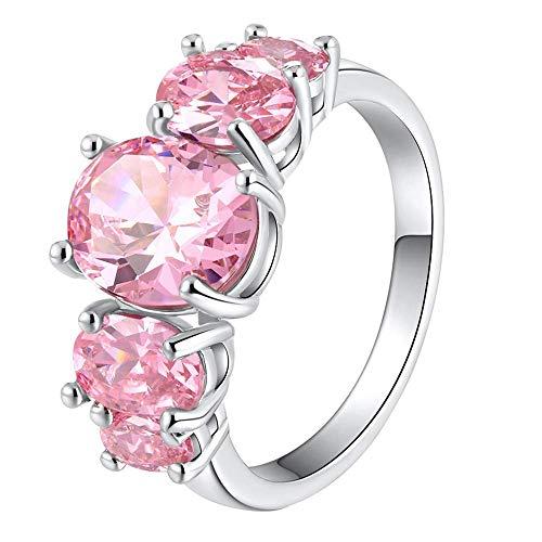 Purmy donne anello bianca placcato oro fede nuziale con rosa cubic zirconia multiple ellittico forma design elegante stile dimensione 15