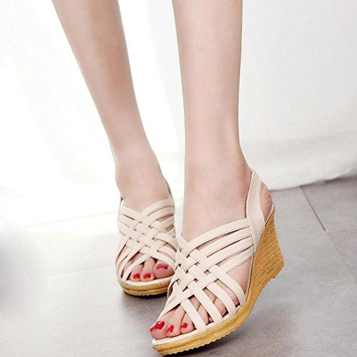Webla Frau Hoch Plattformen Ausschnitt Muster Karierte Gürtel Gladiator Sandale Schuhe DamenOffene Sandalen mit Keilabsatz T-Spangen Beige