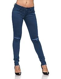 Jeans Skinny Slim Fit Boyfriend Style Risse Stretch Röhre Destroyed