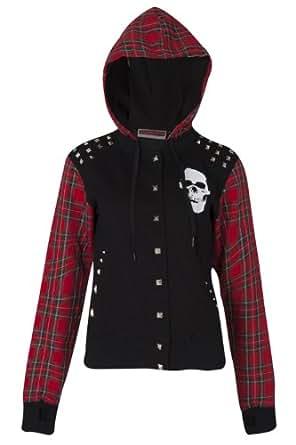 Tartan Skull Studs Punk Goth Emo Hoodie (X-Large, Red Tartan/Black)