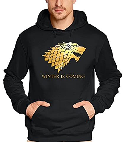 WINTER IS COMING - Game of Thrones, Hoodie - Sweatshirt mit Kapuze, schwarz-gold GR.5XL