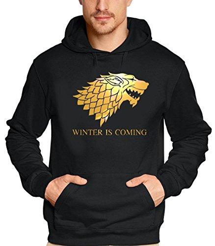 WINTER IS COMING - Game of Thrones, Hoodie - Sweatshirt mit Kapuze, schwarz-gold GR.XL
