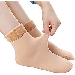 Winter Wamer Women Thicken Thermal Cashmere Snow Socks Botas De Terciopelo Sin Costura Calcetines For Dormir En El Piso For Damas (Color : Khaki)