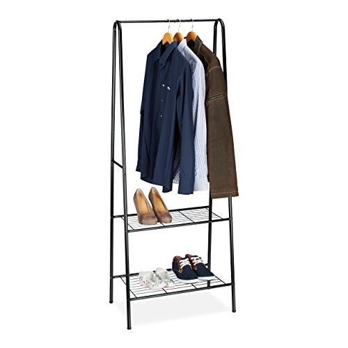 Relaxdays Kleiderständer SANDRA mit 2 Ablagen, Metall, Garderobenständer, mit Kleiderstange, HBT: 160 x 61,5 x 38 cm, schwarz