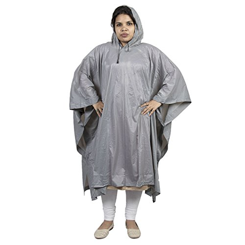 AllExtreme EX103PG Women's PVC Waterproof Hooded Rain Coat (AE-DS1F2, Grey, Standard Size)