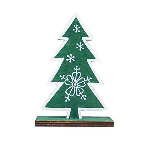 WOBANG Weihnachten Deko - Christmas Weihnachtsbaum Weihnachten Dekoration Hölzerne gemalte Schneeflocke Weihnachtsbaumschmucke (Grün) (Gemalt Auf Kostüm)