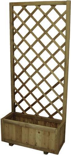 Fioriera con pannello grigliato in legno impregnato 75x30x180h cm.