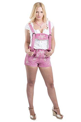 Damen Emelie Trachtenlederhose kurz Pink- Schöneberger Trachen Lederhose Hotpants (36, pink)