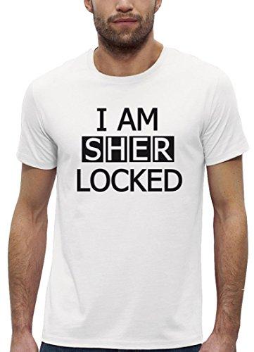 Serien Premium Herren T-Shirt aus Bio Baumwolle I AM SHER LOCKED Motiv Marke Stanley Stella White