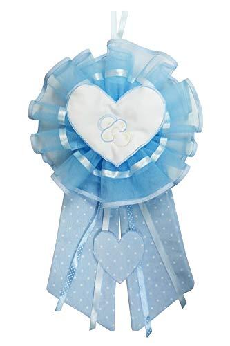 Fiocco nascita azzurro cuore ciuccio con ricamo