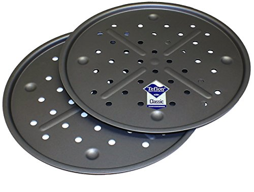 Pizza Pan Baking Tray Twinpack - 13 Inch, with Teflon �TM Non Stick, British Made Baking Tins