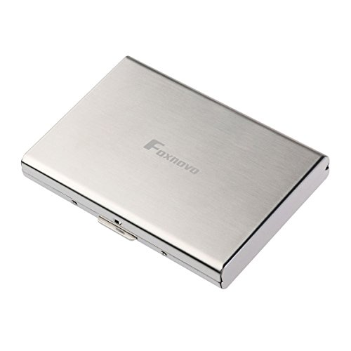 Foxnovo, portafogli in acciaio inox, blocco RFID, porta carte di credito con 6 scomparti in PVC, per uomo e donna