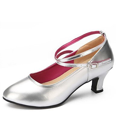 Silence @ Chaussures de danse pour femme en similicuir en similicuir Latin talons Chunky Talon Intérieur Noir/rouge/doré/argenté noir