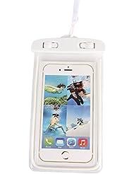 """whx Sac imperméable général, activités extérieures avec un sac sec commun, Apple iPhone 6S 6,6S Plus, SE 5S, Samsung Galaxy S7, S6 notes 5 4, jusqu'à 6,0 """"diagonale - multicolore (blanc)"""