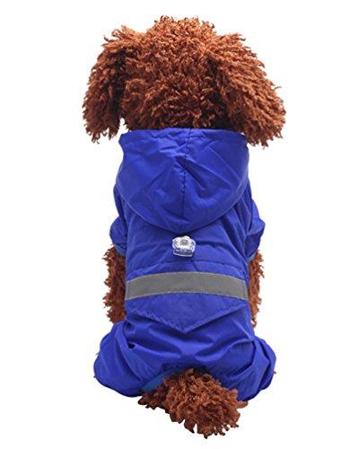 YiJee Haustier Regenmantel Regenjacke Hunderegenmantel Wasserdicht Kleidung mit Reflektierende Streifen Blau M