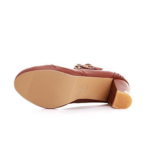 VogueZone009 Femme Fermeture D'Orteil Rond Boucle Pu Cuir Couleur Unie à Talon Haut Chaussures Légeres Brun