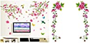 Decals Design 'Flowers Branch' Wall Sticker (PVC Vinyl, 60 cm x 90 cm),Multicolor & 'Flower Vi