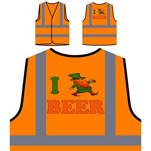 Ich liebe bier irisch neuheit lucky st. Patricks Tag Personalisierte High Visibility Orange Sicherheitsjacke Weste (St Patricks Tag Weste)