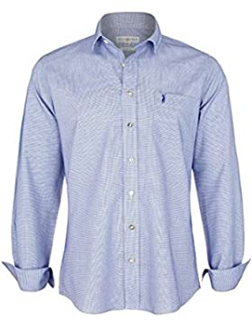 Almsach Herren Hemd Slim Fit Struktur Blau, Blau,